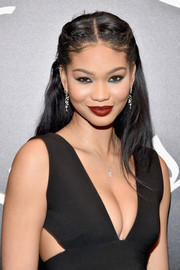 Chanel Iman amped up the sultry appeal with a bold red lip.