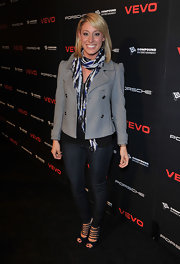 Vienna Girardi dressed up her jeans with super strappy black peep toes. The heels gave her casual look a sexy finish.