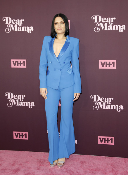 Jessie J suited up in this blue double-breasted jacket and bell-bottoms combo for the 'Dear Mama: A Love Letter to Moms' screening.