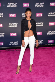 Chanel Iman teamed her sizzling-hot top with white cigarette pants.