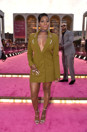 Fantasia Barrino styled her dress with the celeb-favorite Giuseppe Zanotti Harmony sandals, in silver.