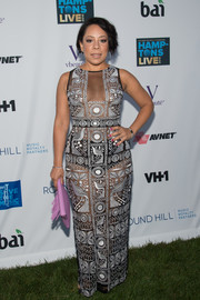 Selenis Leyva dared to bare in this intricately patterned see-through gown for the VH1 Save the Music event.