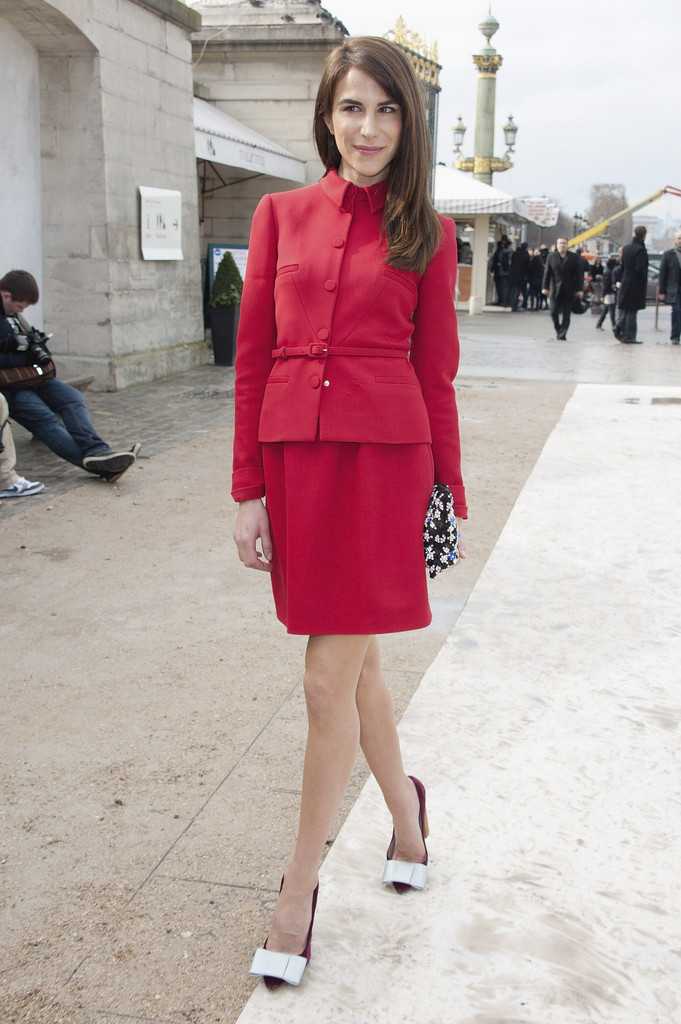 Caroline Sieber arrives at the Valentino  Ready-To-Wear Fall/Winter 2012 show as part of Paris Fashion Week at Espace Ephemere Tuileries on March 6, 2012 in Paris, France.