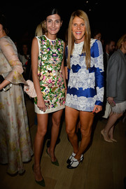 Giovanna Battaglia looked lovely in a floral-embroidered mini dress during the Valentino fashion show.