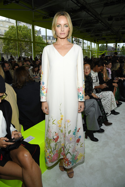 Amber Valletta looked charming in a floral-embroidered maxi dress at the Valentino Spring 2020 show.