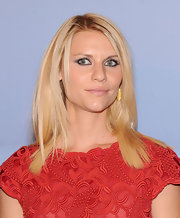 Claire Danes attended the Valentino Garavani Virtual Museum Launch Party wearing a pair of Lilly Collection leaf earrings of 24-carat vermeil.