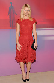 Claire Danes was chic for the Valentino festivities in a red lace frock paired with black leather pumps.