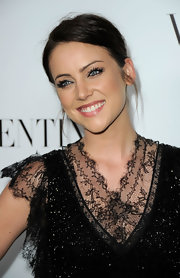 Jessica Stroup added a pair or lengthy lashes to complete her look for the Valentino store opening on Rodeo Drive.