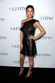 Jessica Szohr wore this ruffled leather number to the Valentino Rodeo Drive opening.
