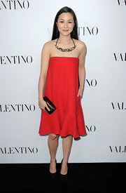 China Chow wore this stylish red strapless trapeze dress to the Valentino store opening on Rodeo Drive.