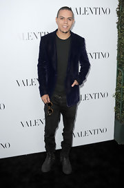 Evan Ross looked dapper in a sleek velvet jacket during the Valentino Rodeo Drive Flagship opening.