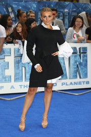 Tallia Storm was edgy and trendy in an asymmetrical mini dress by Burberry at the European premiere of 'Valerian and the City of a Thousand Planets.'