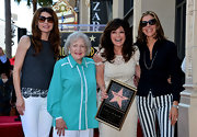 Betty White looked delightfully bright in a pajama-inspired button-down.