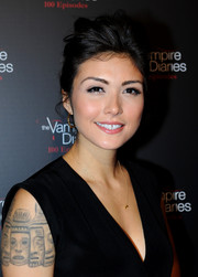Daniella Pineda looked punk-glam with her mussed-up bun during the 'Vampire Diaries' 100th episode celebration.