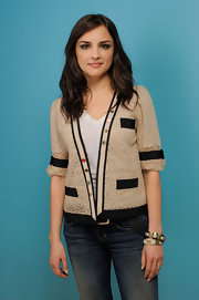 Rachael Leigh Cook kept it casual at the Sundance Film Festival in a cream colored lace cardigan.