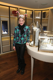 Julie Macklowe was tamer than usual in a floral blouse and leather pants at the Van Cleef & Arpels cocktail party.