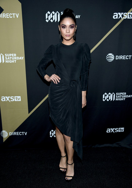 Vanessa Hudgens Little Black Dress [super,arrivals,vanessa hudgens,clothing,dress,fashion model,little black dress,cocktail dress,shoulder,fashion,joint,carpet,footwear,atlantic station,atlanta,georgia,directv]