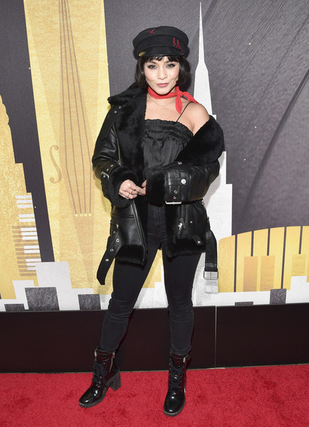 Vanessa Hudgens Leather Jacket [clothing,costume,lady,latex clothing,footwear,cosplay,outerwear,leg,latex,carpet,delta air lines celebrates 2018 grammy weekend,nominees,supporter,vanessa hudgens,celebrity guests,friends,grammy awards,performance,delta air lines,official airline partner]