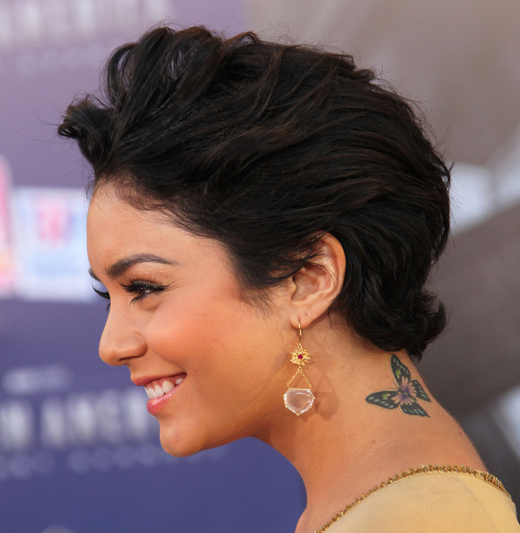Vanessa Hudgens Fauxhawk [captain america: the first avenger,hair,face,hairstyle,eyebrow,chin,black hair,beauty,forehead,long hair,neck,vanessa hudgens,arrivals,el capitan theater,california,hollywood,marvel entertainment,paramount pictures,premiere,los angeles premiere]
