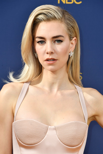 Vanessa Kirby Long Side Part [brassiere,hair,undergarment,blond,clothing,beauty,hairstyle,skin,eyebrow,arrivals,vanessa kirby,emmy awards,70th emmy awards,microsoft theater,los angeles,california]