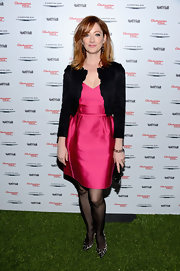 Judy Greer chose a fitted black jacket to pair with her hot pink satin dress at the 'Les Miserables' celebration in LA.