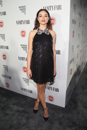 Crystal Reed made a sweet fashion statement at the Fiat Young Hollywood celebration in a Marc Jacobs embroidered LBD with a bedazzled bow collar.