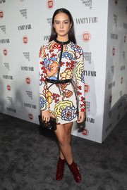 Courtney Eaton was a feast for the eyes in a Louis Vuitton mini featuring a whimsical floral print during the Fiat Young Hollywood celebration.