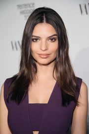Emily Ratajkowski wore her hair with a center part and a teased crown for a retro-chic look during the Fiat Young Hollywood celebration.