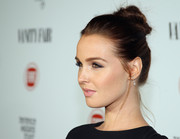 Camilla Luddington sported an edgy-glam top knot at the Fiat Young Hollywood celebration.