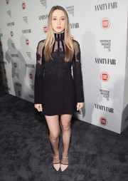 Taissa Farmiga looked mildly goth at the Fiat Young Hollywood celebration in a long-sleeve, high-neck LBD with lace accents.