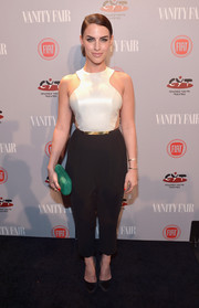 Jessica Lowndes chose a super-stylish monochrome jumpsuit by Peggy Hartanto for the Young Hollywood celebration.