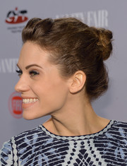 Lydnsy Fonseca styled her locks into a fun-looking twisted bun for the Young Hollywood celebration.