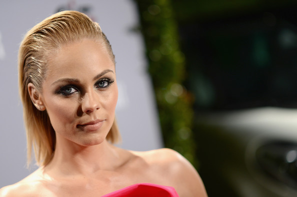 Laura Vandervoort vamped it up at the Young Hollywood celebration with an edgy slicked-back 'do and heavily lined eyes.