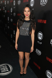 Olivia Munn looked totally party-ready in a skintight black David Koma dress with a crystal-embellished bodice during the Vanity Fair and Fiat Young Hollywood celebration.