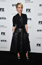 Sarah Paulson was casual-chic in a fitted black knit top by Mayle at the Vanity Fair and FX Emmy nominations party.