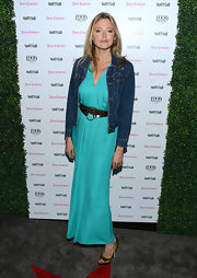 Estella Warren dressed down her turquoise maxi dress with a casual denim jacket at the 2013 Vanities Calendar event.
