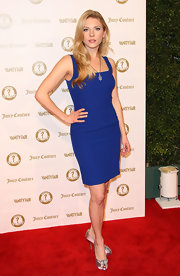 Katheryn Winnick wore this vibrant blue cocktail dress to the Vanity Fair anniversary party.