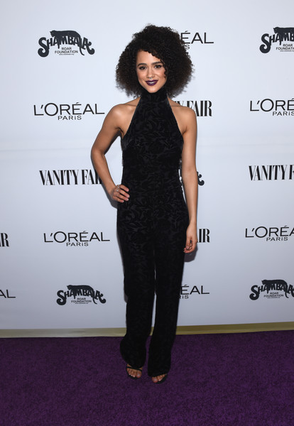 Nathalie Emmanuel went for a relaxed yet chic vibe in a black velvet-burnout halter jumpsuit by Cushnie Et Ochs at the Toast to Young Hollywood event.