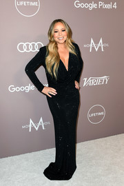 Mariah Carey looked every inch the diva in a micro-beaded black gown by Philipp Plein at the 2019 Variety Power of Women: Los Angeles.