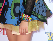 Ariel added a little spunk to her look with colorful bangle bracelets.