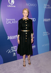 Nicole Kidman stepped out in a very stylish black L'Wren Scott shirtdress with a gold collar and buttons at the Variety Power of Women event.