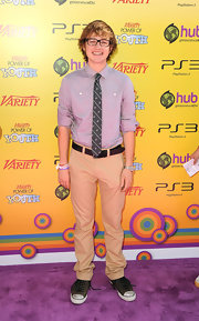 Angus T. Jones paired khakis with a gray button-down for the Power of Youth event.