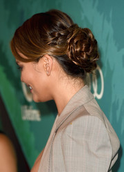 Chrissy Teigen went for demure styling with this braided bun when she attended the Variety Power of Women event.