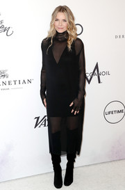 Michelle Pfeiffer vamped it up in a sheer black turtleneck dress with a mini underlay during Variety's Power of Women event.