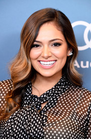 Bethany Mota looks fab in the Deon Silver Pearl & Crystal Stud Earrings from Adornmonde.