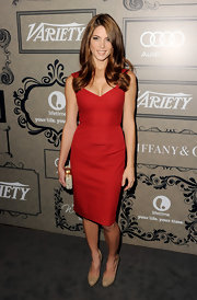Ashley looked red hot in this figure-flattering red dress at the Variety's Power of Women event.