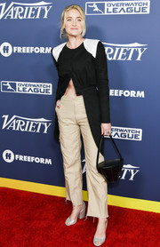 Amanda Michalka showed a hint of abs in a half-unbuttoned high-low top at the Variety Power of Young Hollywood event.