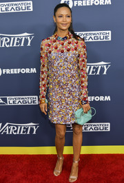 Thandie Newton looked totally party-ready in a heavily beaded cocktail dress by Ashish at the Variety Power of Young Hollywood event.