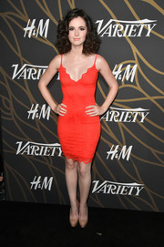 Vanessa Marano went sexy and sophisticated in a skintight orange slip dress at the Variety Power of Young Hollywood event.