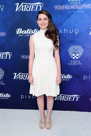 Emily Robinson was demure in a textured LWD by Vince Camuto at the Variety Power of Young Hollywood event.
